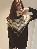 Women's Geometric Black Pullover , Casual Long Sleeve