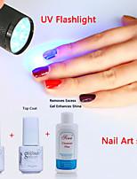 YeManNvYou®Nail Art SET UV Top Coat Gel & Primer Base Coat  & Cleanser Plus & UV Flashlight