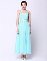 Vestido - Azul Céu Festa Formal Linha-A Assimétrico Longuete Chiffon