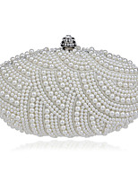 Women Polyester / Metal Minaudiere Clutch / Evening Bag - White