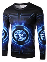 Men's Personality Abstract 3D Printed Casual Long-Sleeve T-Shirt