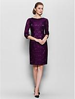 Sheath/Column Mother of the Bride Dress - Grape Knee-length Half Sleeve Lace