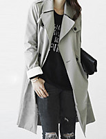 Women's Solid Gray Trench Coat , Vintage Long Sleeve Others