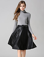 Women's Solid Red / Black / Gray Skirts , Vintage / Casual Knee-length