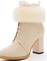 Women's Shoes Synthetic Chunky Heel Fashion / Bootie Boots Office & Career / Party & Evening / Casual Black / White