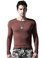 Tee-Shirt Décontracté / Sport / Grandes Tailles Pour des hommes Manches longues Couleur plaine Coton / Spandex