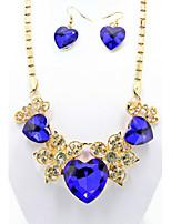 Women's Alloy Blue Crystal Jewelry Set (Necklace & Earrings)