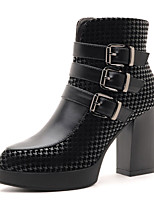 Women's Shoes Leatherette Chunky Heel Heels / Fashion Boots Boots Office & Career / Party & Evening / Casual Black