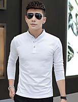 Men's Sleeve Length Tops Type ,Fashion Mock Neck Long Sleeve Cotton Blend Casual Print