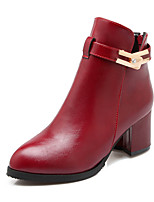 Women's Shoes Chunky Heel Round Toe / Closed Toe Boots Office & Career / Dress / Casual Black / White / Burgundy