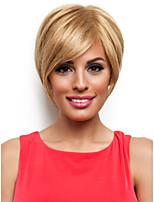 Fashionable Sweet Side Bang Gloden Medium Length Straight Synthetic Hair Wig