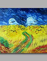 prêt à accrocher étiré toile de peinture à l'huile peinte à la main van gogh abstraite champ de blé avec corbeaux repro un panneau