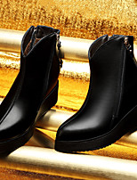 Women's Shoes Leather Flat Heel Combat Boots Boots Party & Evening / Dress / Casual Black