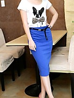 Women's Libo New Style Pure Color Black/Orange/Royal Blue/Navy/Green/Wine/Red Sexy OL Knee-length Skirts
