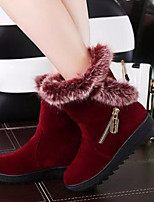 Women's Shoes Leisure All Match Wedge Heel Comfort / Round Toe Boots Dress / Casual Black / Burgundy