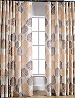 Linen Bright-coloured Leaf Printing Curtain (Two Panel)