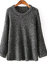 Women's Solid Gray Pullover , Casual Long Sleeve