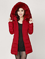 Women's Solid Red / Black / Gray Down Coat , Casual Hooded Long Sleeve