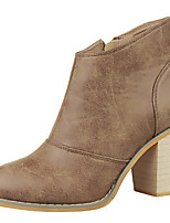 Women's Shoes Leatherette Chunky Heel Fashion Boots Boots Outdoor / Casual Black / Gray / Khaki