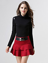 Women's Solid Red / Black / Gray Skirts , Sexy / Casual Mini