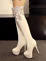 Zapatos de mujer - Tacón Stiletto - Puntiagudos / Botas a la Moda - Botas - Vestido / Casual / Fiesta y Noche - Semicuero - Negro / Blanco