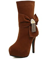 Women's Shoes Fleece Stiletto Heel Fashion Boots Boots Party & Evening / Dress / Casual Black / Brown