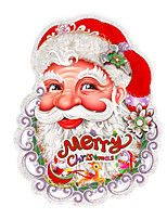 A Pair Merry Christmas Flocking Santa Claus Head 3D Wall Stickers Wall Decals  Design is Random