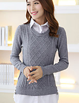 Women's Solid / Patchwork Blue / Pink / Brown / Beige / Gray Pullover , Casual Long Sleeve