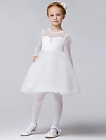 A-line Knee-length Flower Girl Dress - Tulle / Polyester Sleeveless