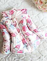 Для девочек На пуховой / хлопковой подкладке На каждый день Хлопок Цветочный принт Зима Длинный рукав