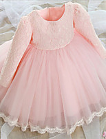 Girl's Long Sleeve Round Collar Lace Mesh Princess Dress for Party Wedding (Polyester + Cotton)