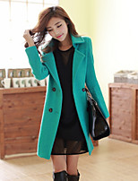 Women's Solid Blue / Red / Green Coat , Casual Long Sleeve Tweed