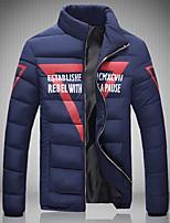 Men's Regular Parka Coat , Cotton / Others Print / Pure Long Sleeve