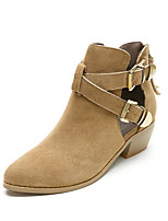 Women's Shoes Leather Chunky Heel Bootie / Closed Toe Boots Outdoor / Office & Career /  Dress / Casual Black / Khaki
