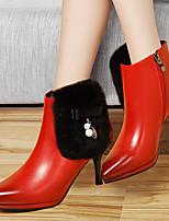 Women's Shoes Leatherette Stiletto Heel Heels Heels Wedding / Party & Evening / Dress Black / Red