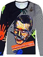 Man 3 d digital printing round neck long sleeve T-shirt
