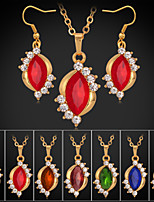 Instyle 18K Chunky Gold Plated Rhinestone Crystal Pendant Ruby Earings Set High Quality