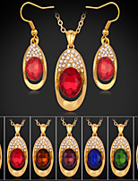 Instyle 18K Chunky Gold Plated Rhinestone Crystal Pendant Ruby Stone Set High Quality