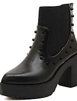 Zapatos de mujer - Tacón Robusto - Puntiagudos - Botas - Casual - Ante - Negro