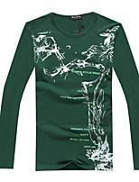 Masculino Camiseta Casual Estampado / Cor Solida Misto de Algodão Manga Comprida Masculino