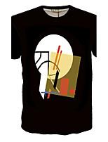 Men's digital printing round collar short sleeve T-shirt