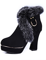 Women's Shoes  Chunky Heel Round Toe / Closed Toe Boots Office & Career / Dress / Casual Black / Burgundy