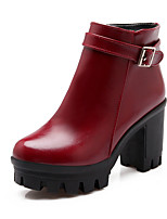 Women's Shoes Leatherette Chunky Heel Round Toe Boots Casual Black / Burgundy