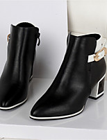 Women's Shoes Leatherette Chunky Heel Round Toe Boots Casual Black