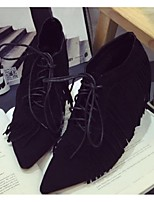 Women's Shoes Suede Stiletto Heel Closed Toe Boots Party & Evening / Casual Black / Yellow
