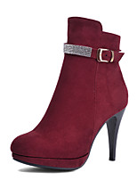 Chaussures Femme - Extérieure / Bureau & Travail / Décontracté - Noir / Bleu / Rouge - Talon Aiguille - Talons / Rangers / Bout Arrondi -