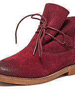 Women's Shoes Suede Flat Heel Cowboy / Western Boots / Combat Boots Heels / Boots Outdoor / Casual Black / Red / Khaki