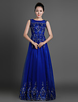 Formal Evening Dress - Royal Blue Sheath/Column Jewel Floor-length Tulle