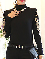 Women's New Vogue Embroidery High Collar Fleece Thicken Slim Pullover