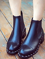 Women's Shoes Suede Chunky Heel Round Toe Boots Casual Black